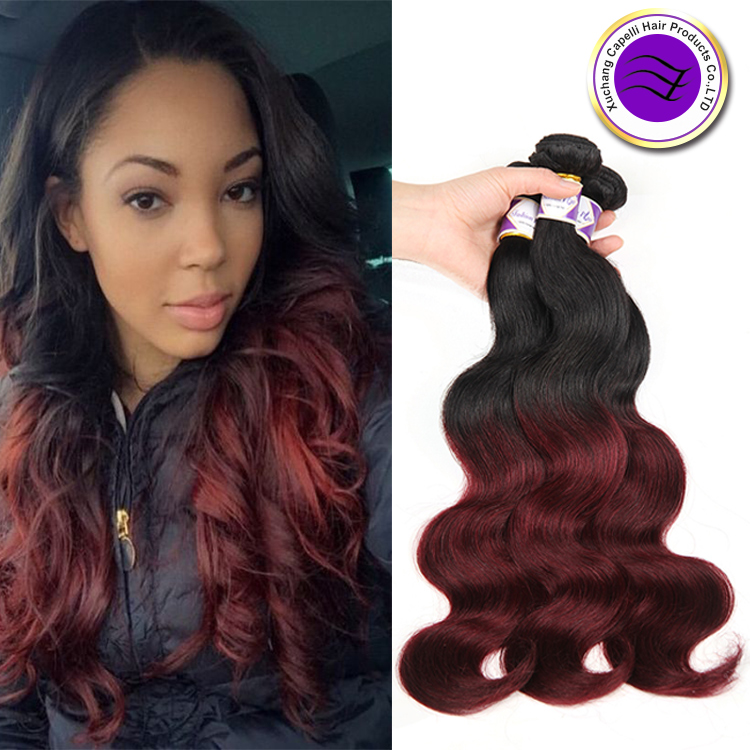 Red Ombre Brazilian Virgin Hair Body Wave 3 Bundles Ombre Burgundy