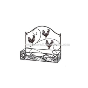 Three Rooster metal wire wall basket
