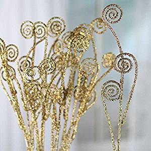 Factory Direct Craft Group of 12 Sparkling Whimsical Gold Fern Frond Picks for Embellishing Florals, Centerpieces, and More