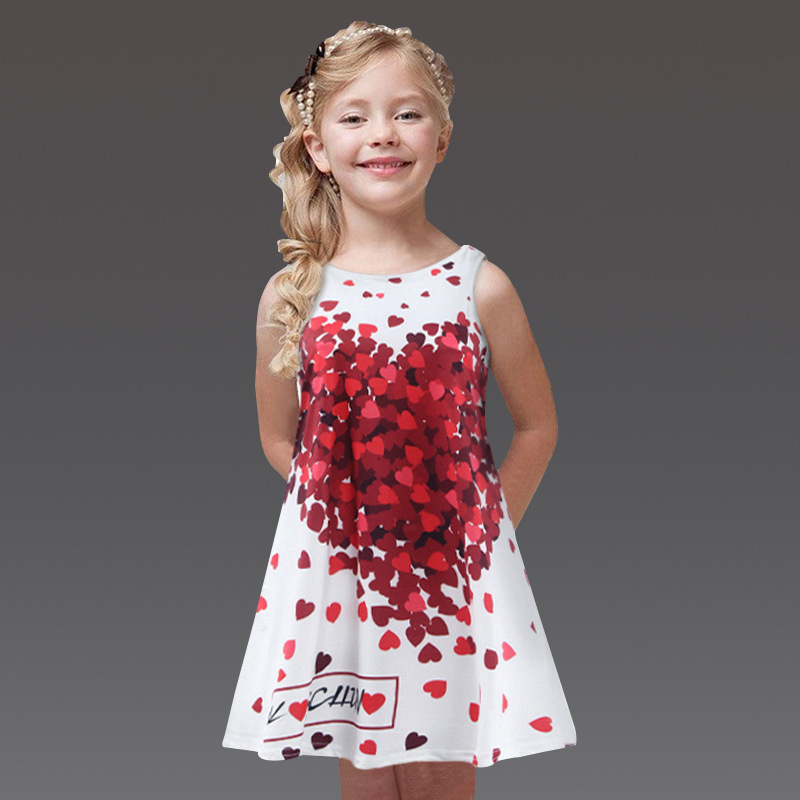 Wholesale 2018Fashion new style sleeveless printing flower pattern dress kids girls фото