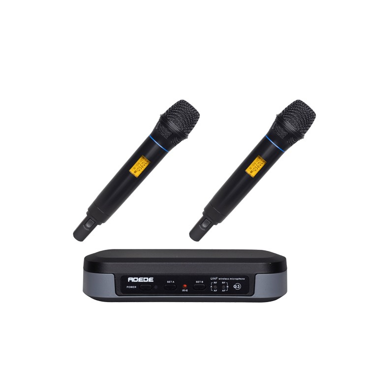 UHF PRO WIRELESS DUAL MICROPHONE SYSTEM with 2 UT4 TPYE MIC G-3