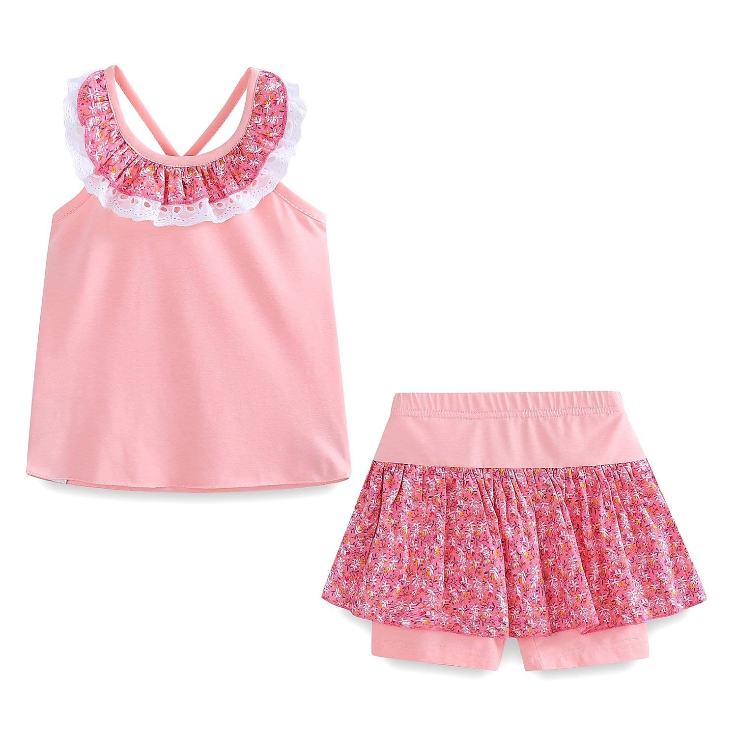 03363236c24 Get Quotations · Mud Kingdom Girls Outfits Holiday Summer Lace Floral  Collar Short Sets
