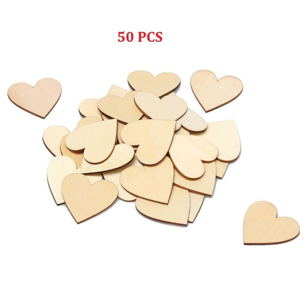 RERIVER 2-Inch Unfinished Wooden Heart Blank Wood Cutout Heart Slices Discs DIY Crafts(50pcs)