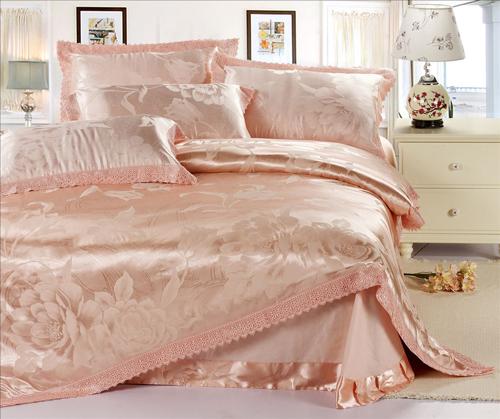 acheter luxe 100 satin de soie jacquard literie set ropa de venu romantique. Black Bedroom Furniture Sets. Home Design Ideas