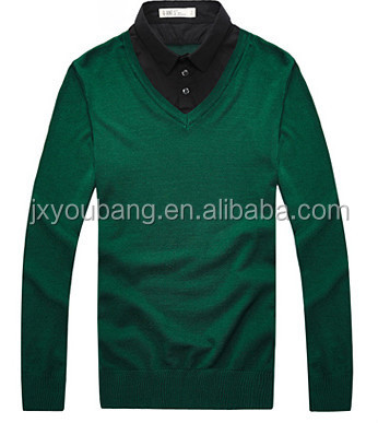 Men's V-neck high collar polo style neck knitting sweater Pullover