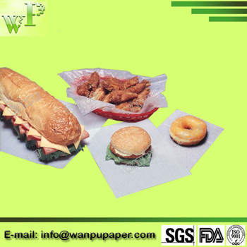 Virgin Wood Pulp Food Safety White Greaseproof Paper For Fried