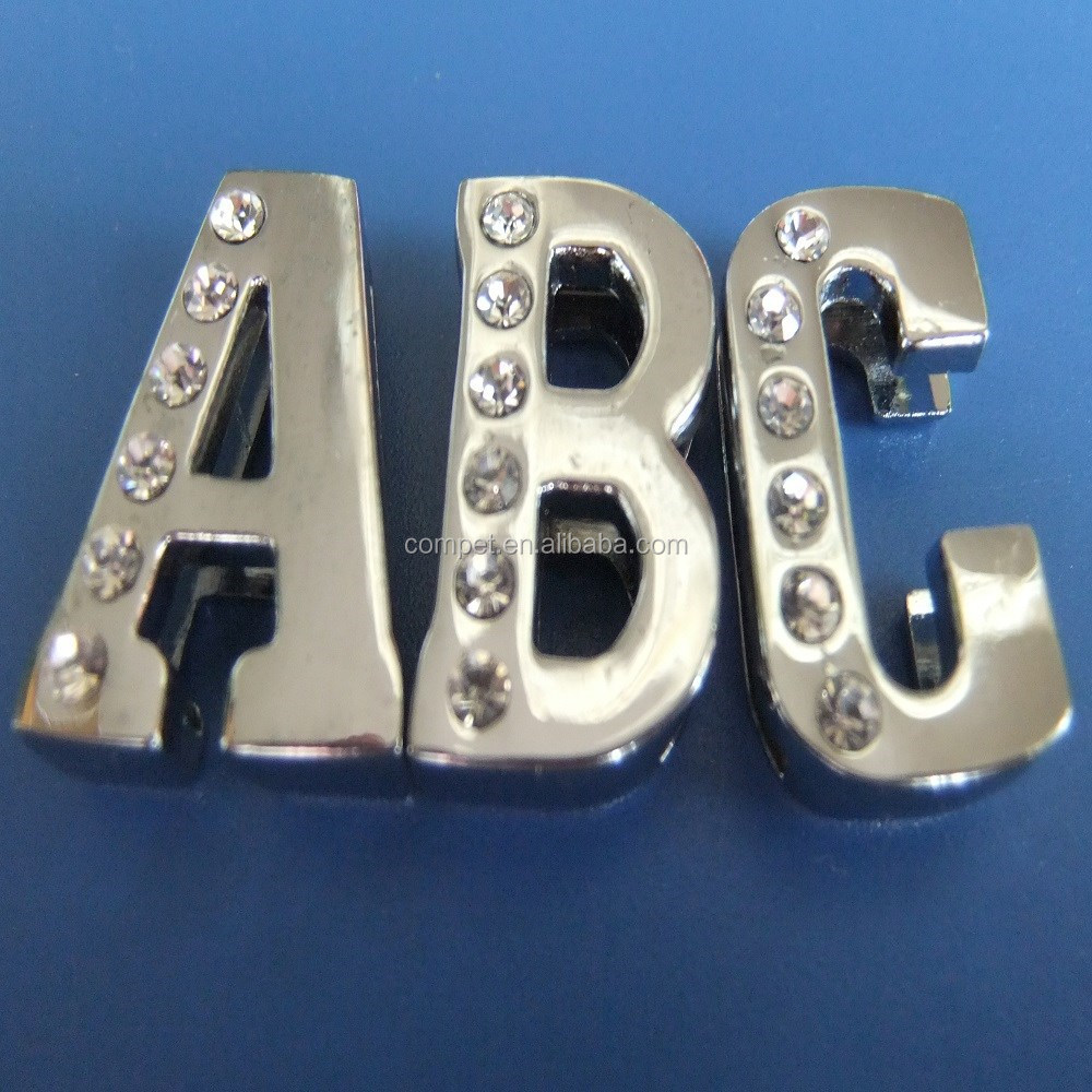Zinc Alloy Charms Half Side Rhinestones Inlayed 18mm Slide Letters
