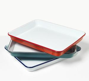 MET03 High Quality Twin color 2 colors metal enamel tray roast baking and bread food storage container tea tray