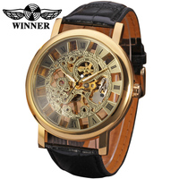 T- winner Big Face Watch Chinese Cheap Mechanical Rome Number Gold Minimalism New Design Mens Luxury Hand Wind Skeleton Watches