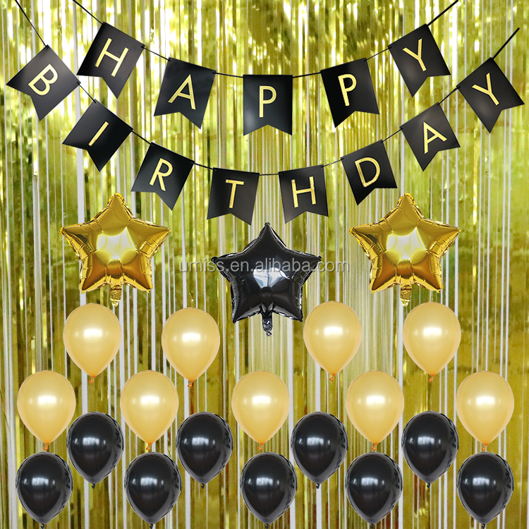 Umiss Black Gold Decoration Kit Metallic Foil Fringe Curtains 30th 40th 50th Birthday Party Decorations
