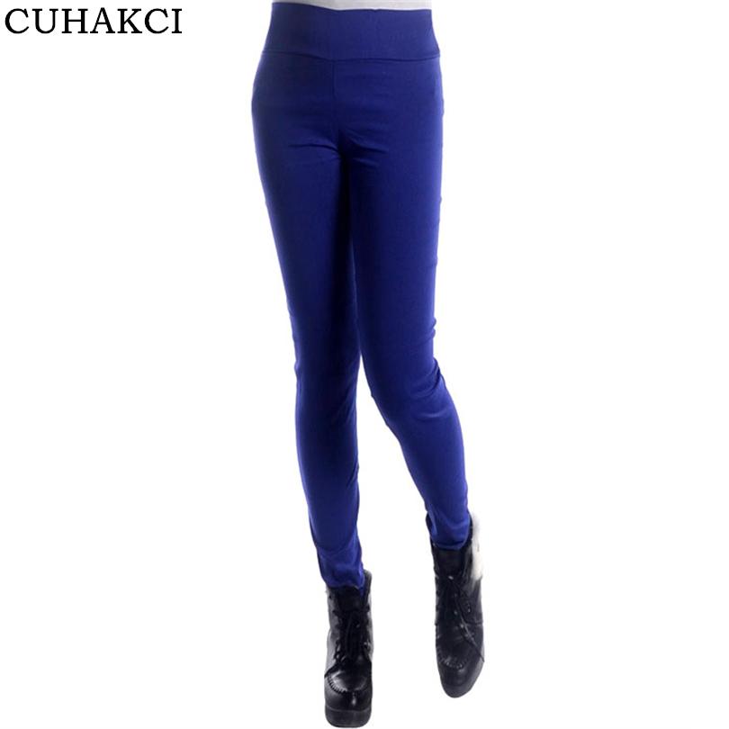 75a5e078ca Venta caliente 2017 de alta calidad de algodón para mujeres Pantalones Slim  de cintura alta Pantalones