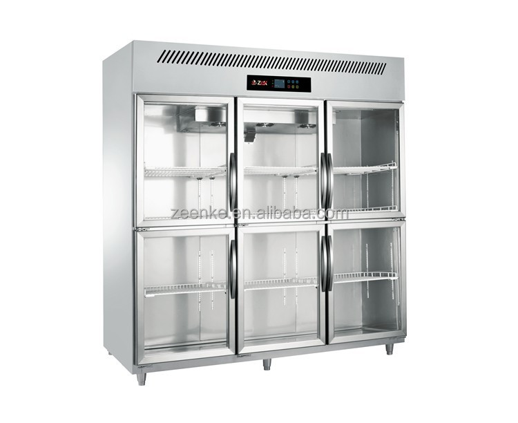 Upright Commercial display refrigerator with six glass doors for Beverage;fruit;vegetable;soft drink