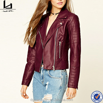 Women's leather jacket asymmetrical