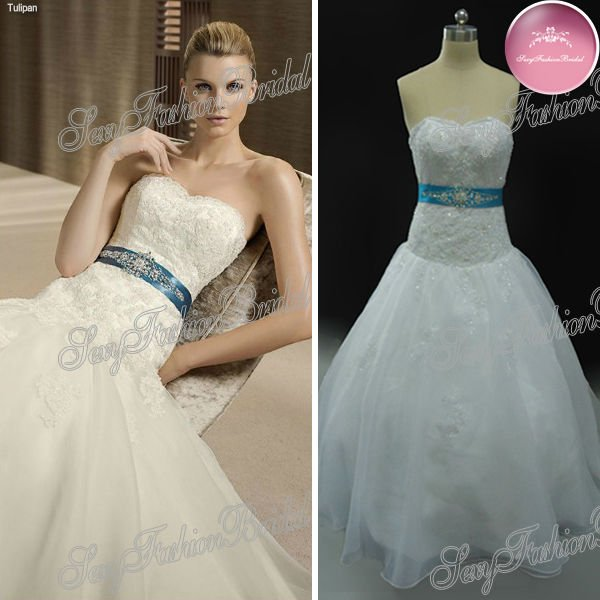 Popular Wedding Dresses with Blue Accents-Buy Cheap ...