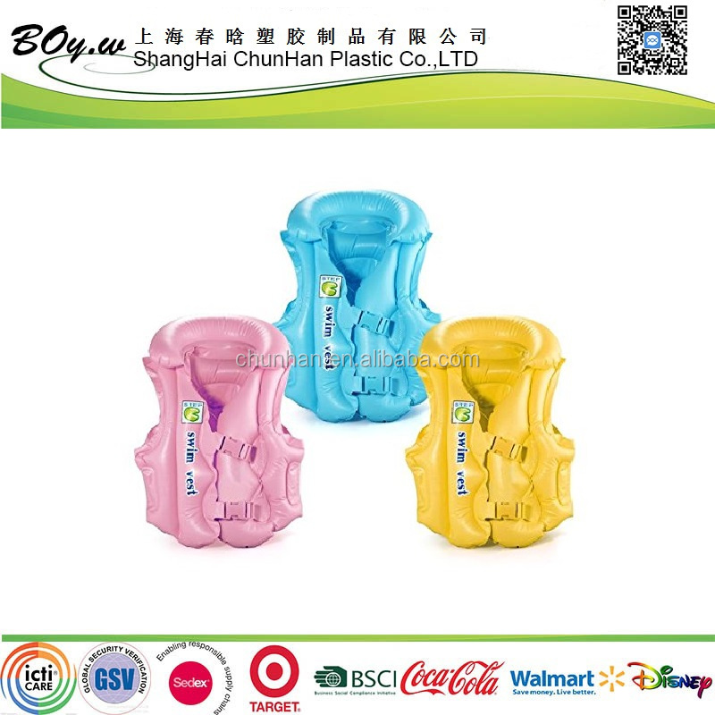 GSV factory wholesales OEM candy color life saving swim vest pvc kids inflatable water life jacket