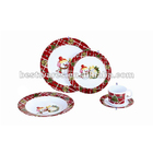 16 pcs christmas round melamine dinnerware set