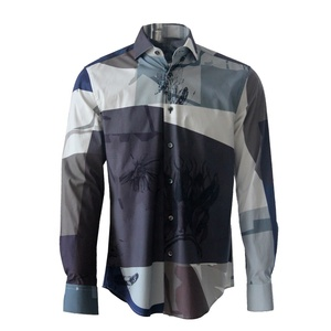latest designs male casual long sleeve men shirt 100% cotton with digital printing pattern