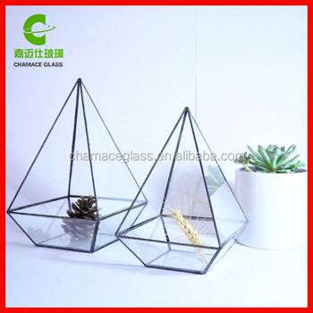 Geometric Terrarium Pyramid Stained Glass Container Glass