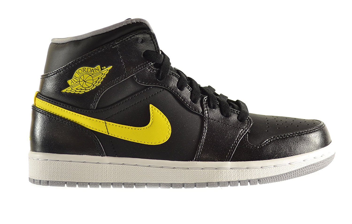 653bf9091eab Get Quotations · Air Jordan 1 Mid Men s Shoes Black Vibrant Yellow-Wolf  Grey 554724-070