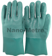 NMSAFETY green PVC coated long plastic glove