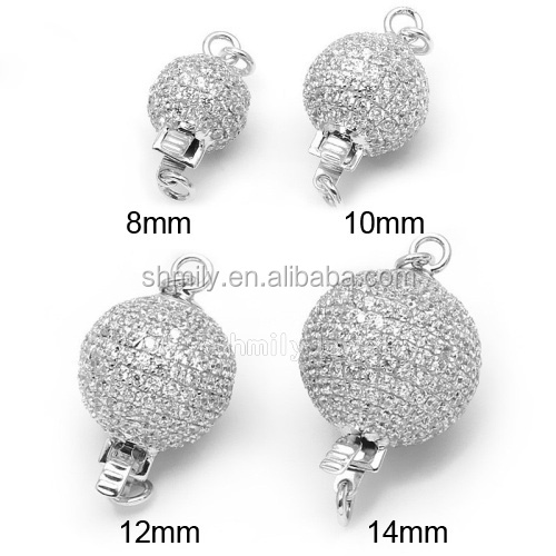 8mm10mm 12mm 14mm Zircon Micro Pave 925 Sterling Silver Round Box Clasps For Pearl Jewelry SC-BC208
