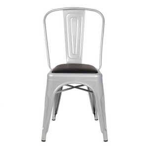 Industrial Side Chair Matte Finish Timber Seat Dinning Chair Restaurant Retro metal frame chair with leather cushion