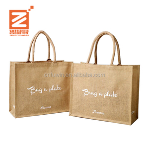 2017 promotional customized Eco Printed Food shopping handle carrying jute bag