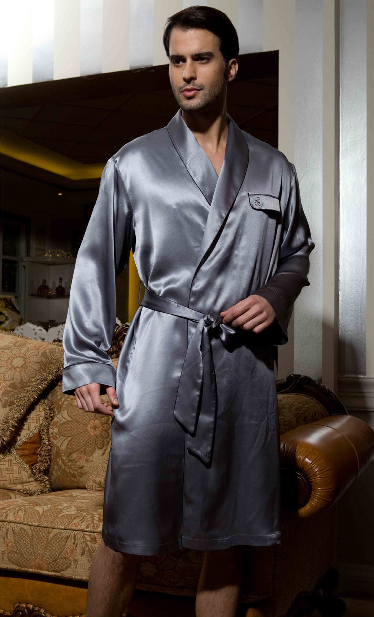 robe de chambre for men heavy pure silk satin sleepwear man 39 s bathrobe sexy night gown 100. Black Bedroom Furniture Sets. Home Design Ideas
