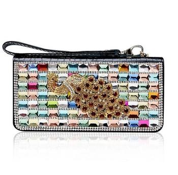 Luxury Le Genuine Leather Rhinestone Handbags Las Clutch Purses