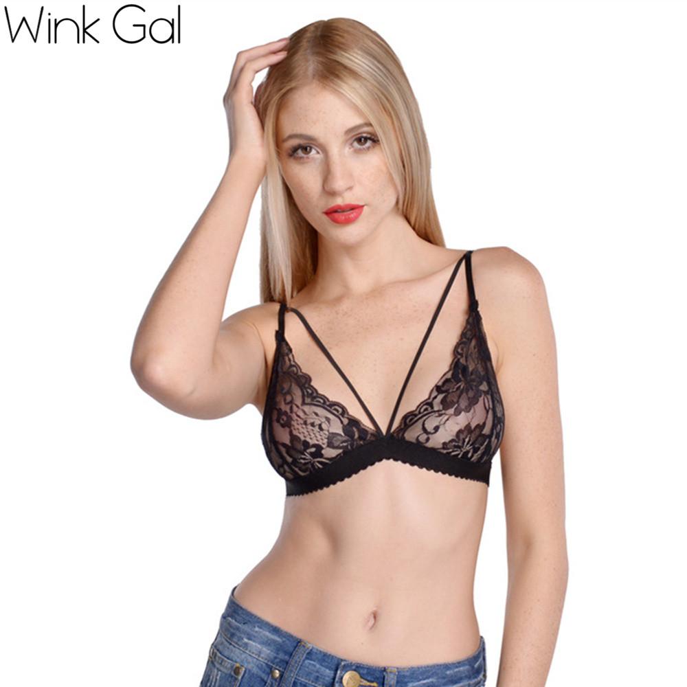 Wink Gal 2016 Summer Sexy Women s Black Lingerie Lace Up Sleepwear Bra Underwear Women Nightwear