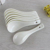Porcelain spoon pure white bone china small spoon soup spoons use for soup 4 pieces as a unit free shipping