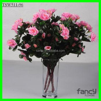 ef08d4281 cor-de-rosa fazendo 6 ramos falso azálea flores artificiais flor arbusto