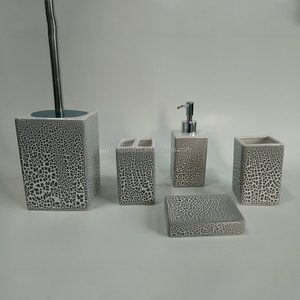 modern crackle design complete ceramic hotel bathroom set 5 piece
