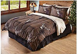 8 Piece Buck Deer Themed Comforter Full Set, Outdoor Cabin Hunting Bedding, Brown Hunters Pattern, Log Cabin Cottage Style, Outdoor Wildlife Game, Brown