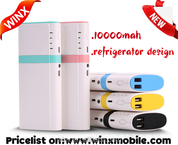 Creative product!WINX Refrigerator 10000mah powerbank with android and ios dual port mobile powerbank