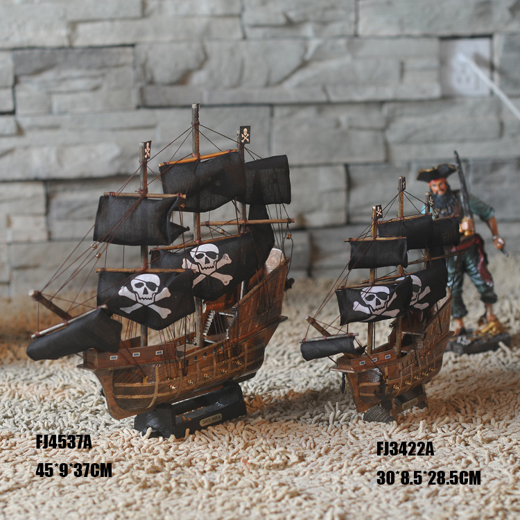 <font><b>Home</b></font> <font><b>Decoration</b></font> Mediterranean Style Caribbean Pirate Black Pearl Ship Model Birthday Gift Mediterranean Style Desk Ornament A02