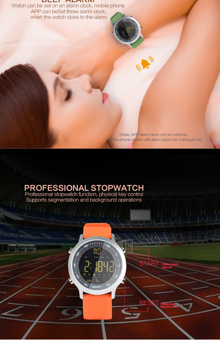 EX18 Smart Watch 5ATM Water Resistant Xwatch Sport BT4.0 Smartwatch Call SMS Reminder Pedometer Stopwatch Alarm Clock