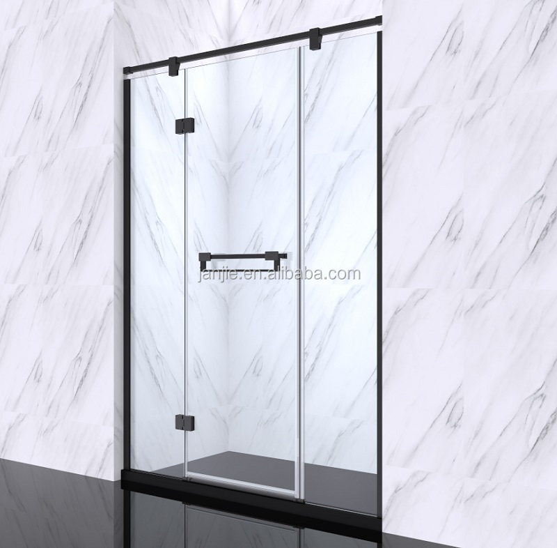 2017 popular modern in line matt black hinge shower door