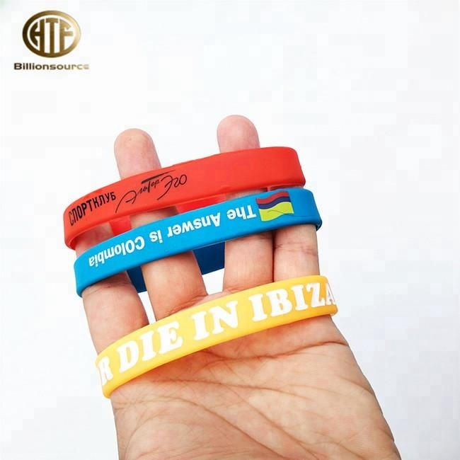 Hot selling basic Bangle 1/2 inch silicone rubber band bracelets custom for sale