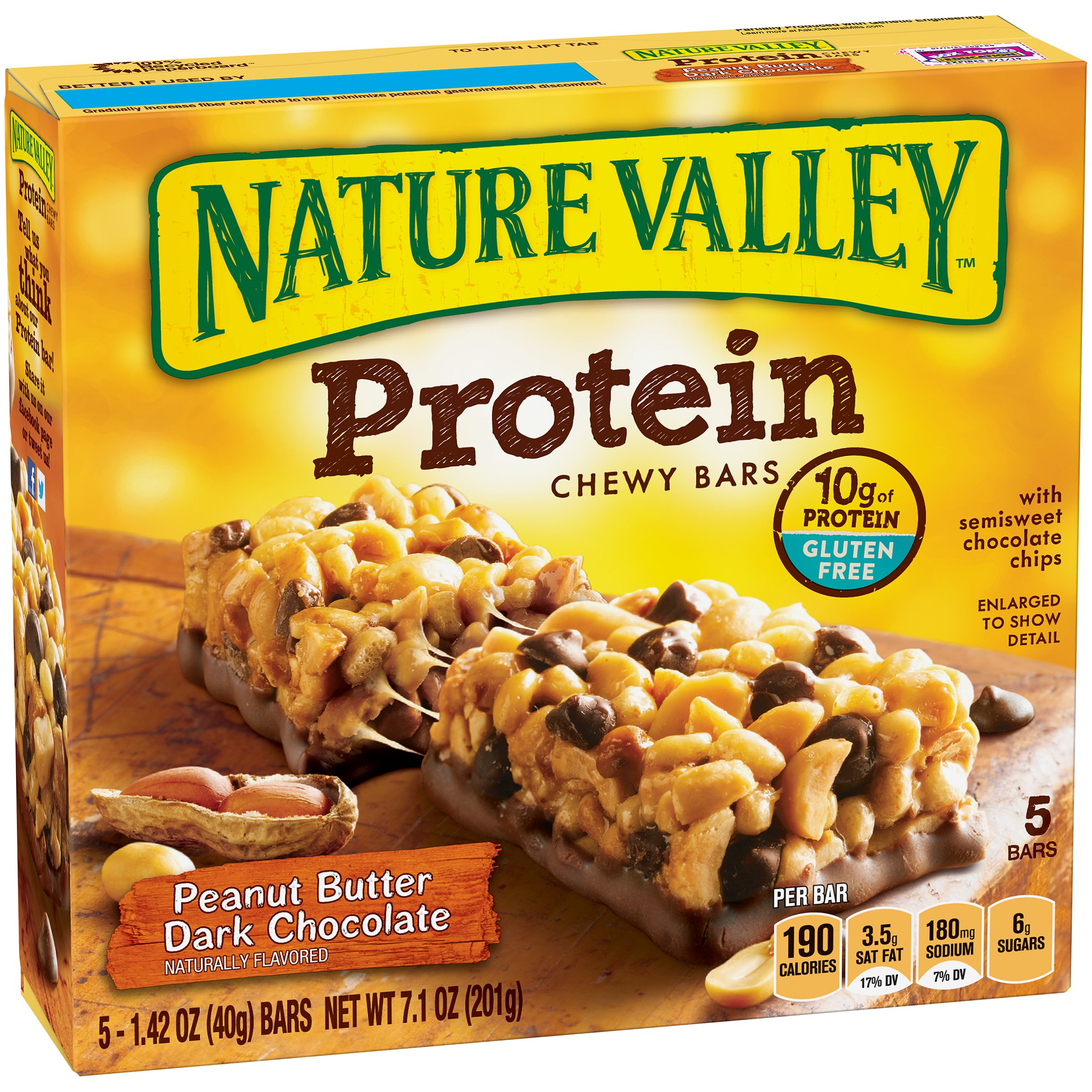 Nature Valley Chewy Granola Bar, Protein, Gluten Free, Peanut Butter Dark Chocolate, 5 Bars, 1.42 oz (Pack of 4)