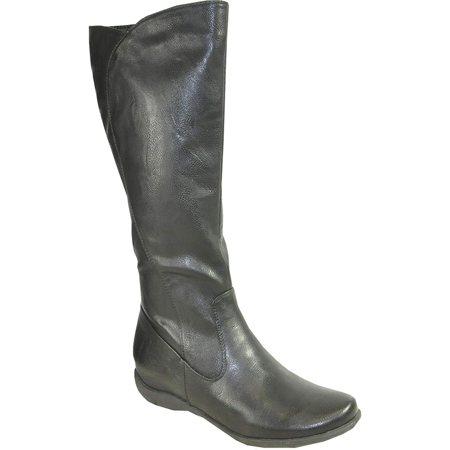0165b643e2e8 Get Quotations · KOZI Women Flat Boot SD3413W Fur Lined Winter Boot with Wide  Calf Black 39M