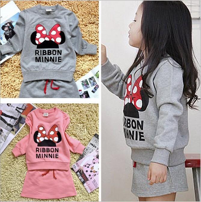 Retail new2015 minnie kids clothes girls clothing sets baby girl cartoon t-shirt+ skirt 2pcs set