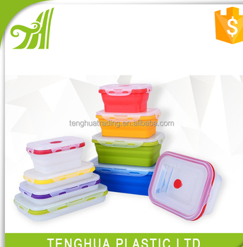collapsible silicone lunch box foldable meal kit bpa free silicone bento leakproof buy. Black Bedroom Furniture Sets. Home Design Ideas