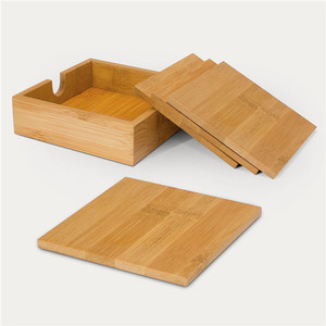 Eco Friendly Genuine Bamboo Wood Square Coaster Holder with 4 Coasters