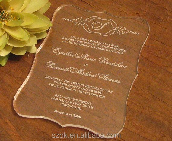 Elegant Laser Cut Custom Acrylic Wedding Invitation Buy Custom