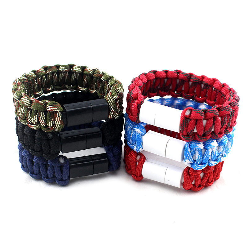 Colorful Mobile Phone Charging USB Bracelets Fashion Handmade Waven Rope Bracelets For Man Charger USB Bracelet
