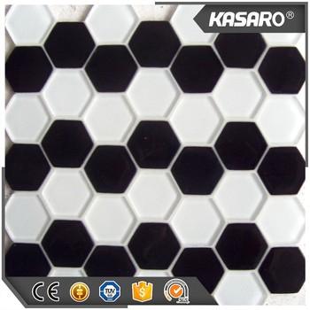 hexgono blanco y negro azulejos de mosaico de vidrio baldosas hexagonales de mosaico mosaico