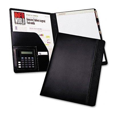 o Samsill o - Pad Holder w/Calculator, Leather-Look/Faux Reptile Trim, Storage Pockets, Black