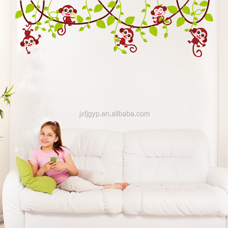 Removable Cute Animals Monkey Wall Stickers for Nursery DIY Decorative