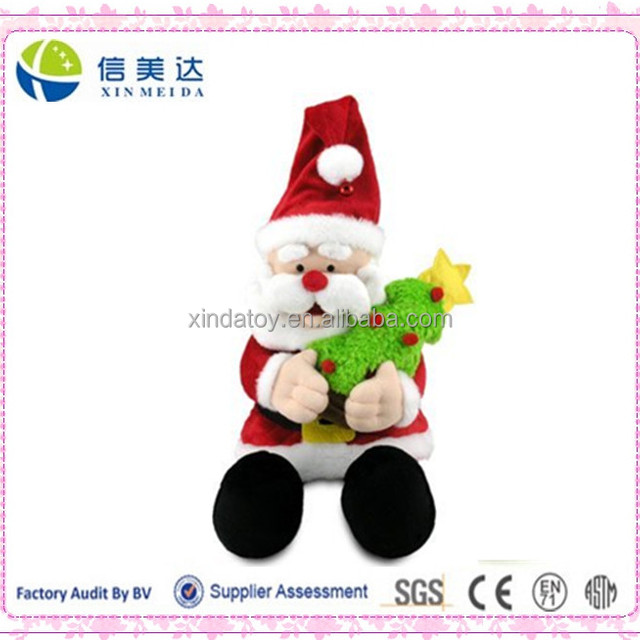 2017 New Animated Singing Deck the Hall Holding Tree Jingle Santa Plush Toy